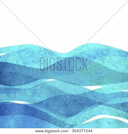 Watercolor Transparent Sea Ocean Wave Blue Teal Turquoise Colored Background. Watercolour Hand Paint