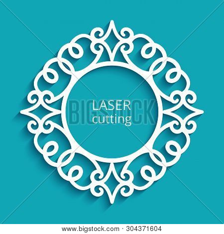 Round Frame With Swirly Ornamental Border. Cutout Paper Label With Stensil Pattern. Swirly Vector Te