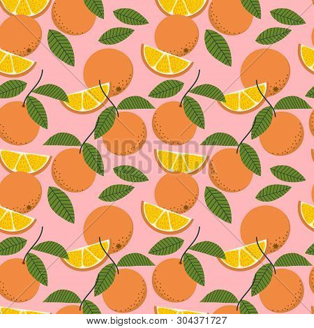 Fresh Oranges And Leaves Seamless Pattern. Summer Fruit Concept.