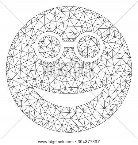 Mesh Clever Smiley Polygonal Icon Vector Illustration. Carcass Model Is Based On Clever Smiley Flat