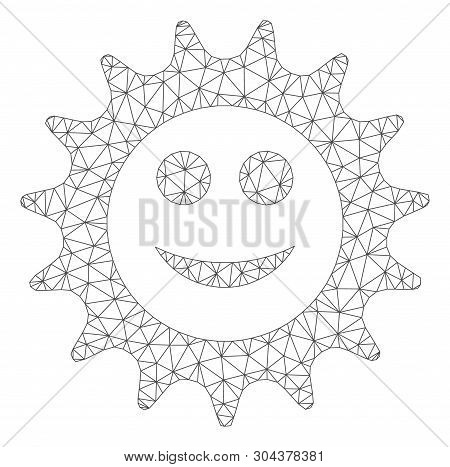 Mesh Cog Glad Smiley Polygonal Icon Vector Illustration. Carcass Model Is Created From Cog Glad Smil