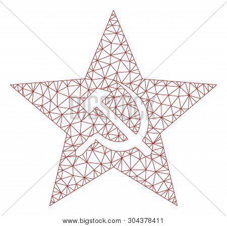 Mesh Communism Star Polygonal Icon Vector Illustration. Carcass Model Is Based On Communism Star Fla