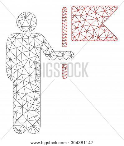 Mesh Commander With Flag Polygonal Icon Vector Illustration. Carcass Model Is Based On Commander Wit