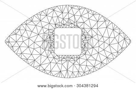 Mesh Chip Eye Retina Polygonal 2d Vector Illustration. Model Is Based On Chip Eye Retina Flat Icon.