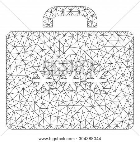 Mesh Cipher Case Polygonal Symbol Vector Illustration. Model Is Created From Cipher Case Flat Icon.