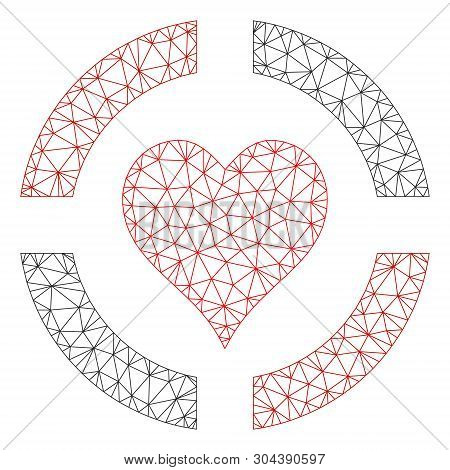 Mesh Casino Hearts Suit Polygonal Symbol Vector Illustration. Carcass Model Is Based On Casino Heart