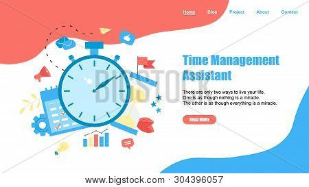 Webpage Template. Concept Of Time Management Assistant With Business Icons.