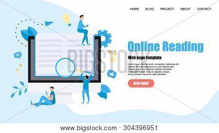 Webpage Template. Flat Design Open Book. Reading Concept. Vector Illustration.
