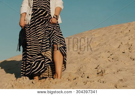 Outdoor Fashion Photo Of Plus Size Woman Wearing Trendy Animal Print. Attractive Curvy Woman On The