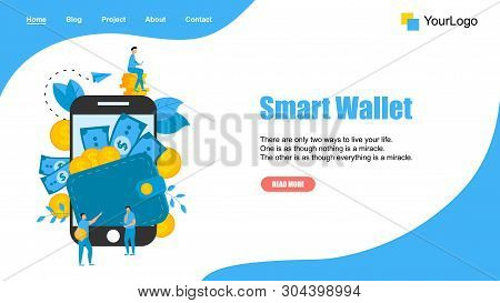 Webpage Template. Smart Wallet With Dollar Banknotes And Coins. Finance Bank Concepts.
