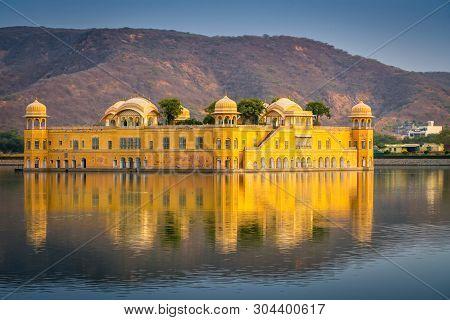 Jal Mahal Water Palace In The Middle Of The Man Sagar Lake At Jaipur Rajasthan India.