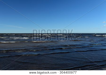 The Blue Sea Seascape, Waves With Whitecaps