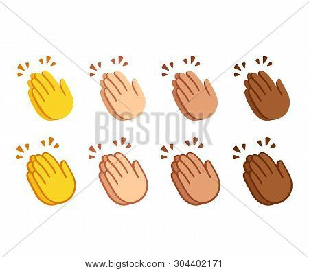 Clapping Hands Emoji Set. Applause Icons In Two Styles, Line Icon And Flat Cartoon Color Option. Dif