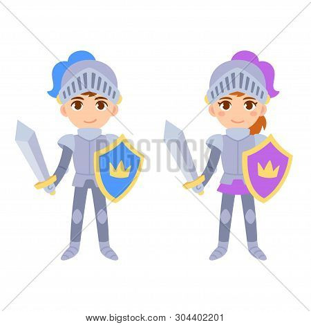 Cute Cartoon Medieval Knight Characters, Boy And Girl. Children In Fairy Tale Knight Costumes, Isola
