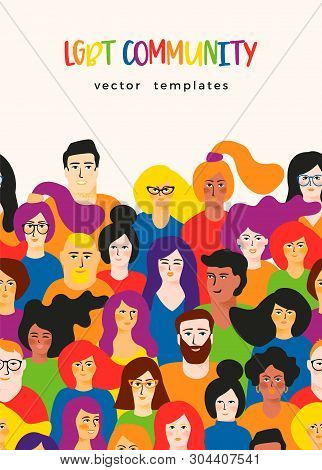 Vector Template With Young Men And Women In Lgbt Colors.