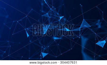 Abstract Blue Digital Background. Big Data Visualization. Science Background. Big Data Complex With