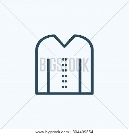 Blouse, Shite With Long Sleeves And V Shape Neck Icon. Vector On White.