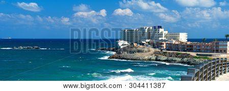 Beautiful panoramic bright landscape of La Manga del Mar Menor, seaside spit Mediterranean Sea cloudy fluffy sky, Region of Murcia in Spain, horizontal panoramic view poster