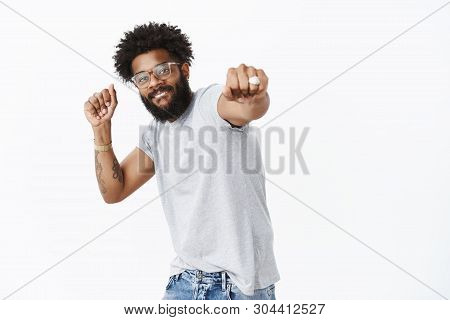 Yo Join Me In Dance Competition. Portrait Of Happy Enegized Good-looking African American Guy In Gla