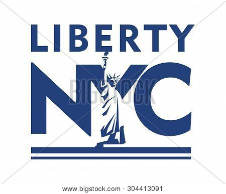 Vector Cartoon Emblem Of The American City Of New York, Statue Of Liberty On The Background Of The A