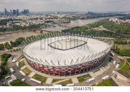 Poland, Warsaw, May 2019 - Aerial View Of Pge Narodowy Stadium