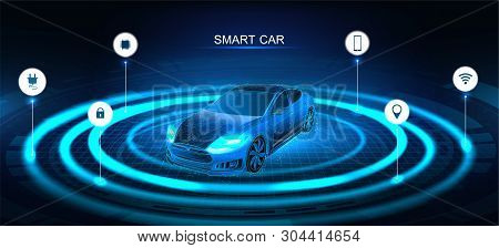 Isometric Smart Car Banner. Electric Machine. Autonomous Car Vehicle With Infographic. Intelligent C