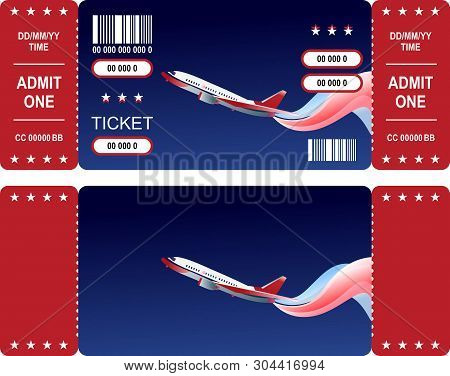 Two Sides Of Horizontal Vector Ticket Template For Airshow Or Air Travel, Isolated Illustration With
