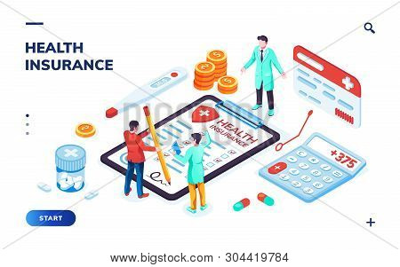 Isometric Health Insurance Concept With Doctor And Patient, Pills And Calculator, Risk Form And Ther