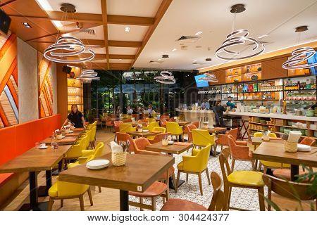 SINGAPORE - CIRCA APRIL, 2019: interior shot of restaurant in Jewel Changi Airport.