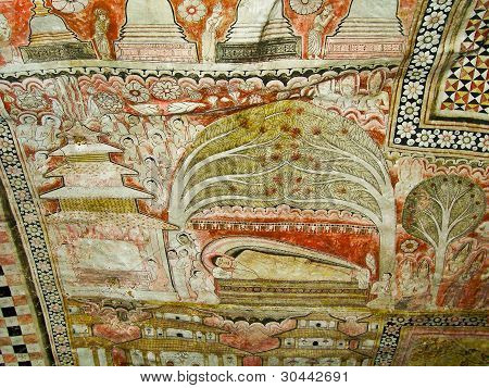 Buddah And Painting In The Famous Rock Tempel Of Dambullah, Sri Lanka