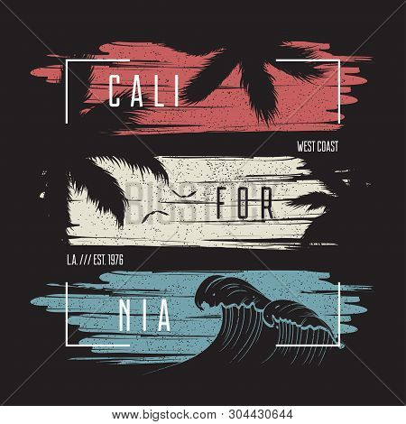California T-shirt Typography With Color Grunge Background, Wave And Palm Trees Silhouettes. Trendy