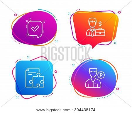 Strategy, Confirmed and Businessman case icons simple set. Valet servant sign. Puzzle, Accepted message, Human resources. Parking man. Business set. Speech bubble strategy icon. Vector poster