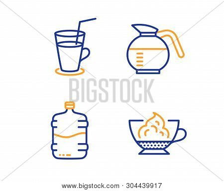 Cooler Bottle, Cocktail And Coffeepot Icons Simple Set. Espresso Cream Sign. Water Drink, Fresh Beve