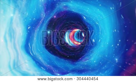 Travel Through A Wormhole Through Time And Space Filled With Millions Of Stars And Nebulae. Wormhole