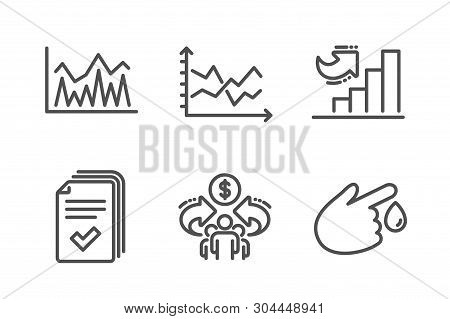 Diagram Chart, Growth Chart And Sharing Economy Icons Simple Set. Investment, Handout And Blood Dona