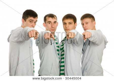 True friends pointing index fingers of hands for the camera. Isolated on white.