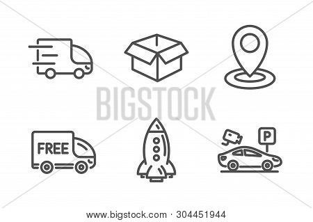 Rocket, Free Delivery And Location Icons Simple Set. Truck Delivery, Opened Box And Parking Security