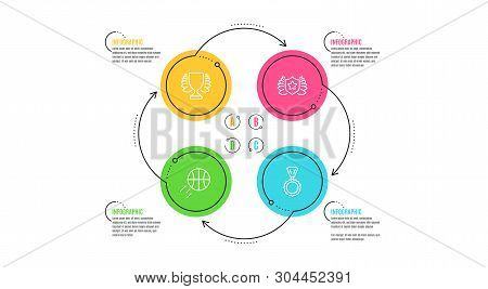 Winner, Laureate And Basketball Icons Simple Set. Infographic Timeline. Medal Sign. Sports Achieveme