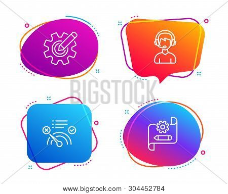 No internet, Consultant and Cogwheel icons simple set. Cogwheel blueprint sign. Bandwidth meter, Call center, Edit settings. Technology set. Speech bubble no internet icon. Colorful banners design set poster