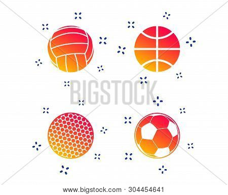 Sport Balls Icons. Volleyball, Basketball, Soccer And Golf Signs. Team Sport Games. Random Dynamic S