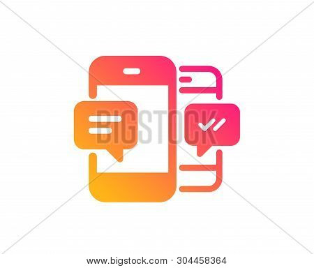 Phone Message Icon. Mobile Chat Sign. Conversation Or Sms Symbol. Classic Flat Style. Gradient Smart