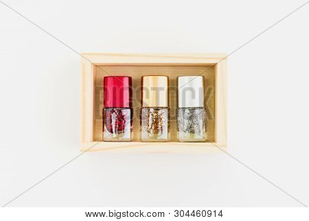 Nail Polish Of Beautiful Colorful On White Background.