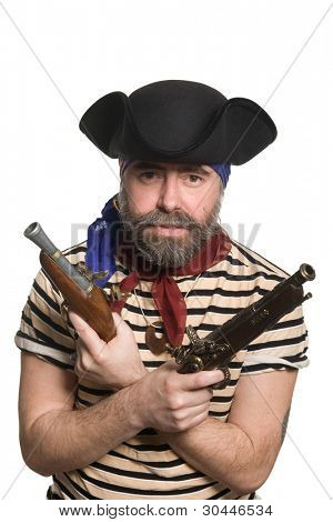 Terrible pirate in tricorn hat with a muskets.