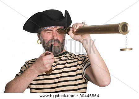 Pirate looks a telescope and smokes a pipe.