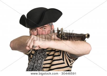Bearded pirate in tricorn hat shoots a musket.