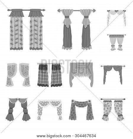 Vector Illustration Of Interior And Cornice Symbol. Collection Of Interior And Drapes Vector Icon Fo