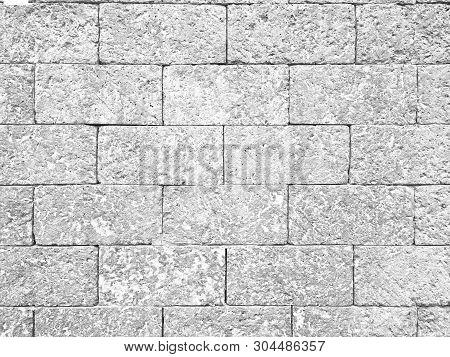 Old Retro Half Tone Laterite Brick Wall Textured Background.