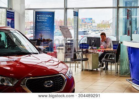Kirov, Russia - May 07, 2019: Manager In Showroom Of Dealership Datsun In Kirov