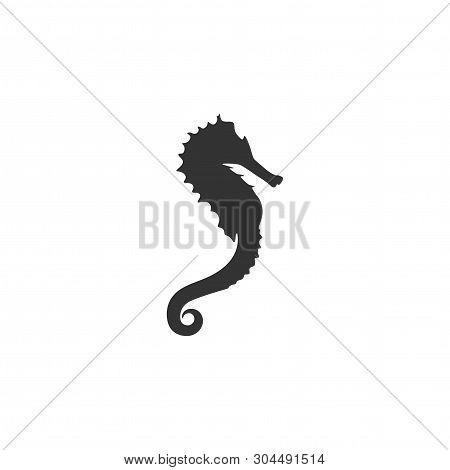 Black Sea-horse Or Hippocampus On White Background. Marine Seahorse Simple Icon.