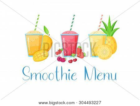 Set Of Smoothie Banner Vitamin Drink Vector Illustration. Tasty Natural Fruit, Glass With Colorful L